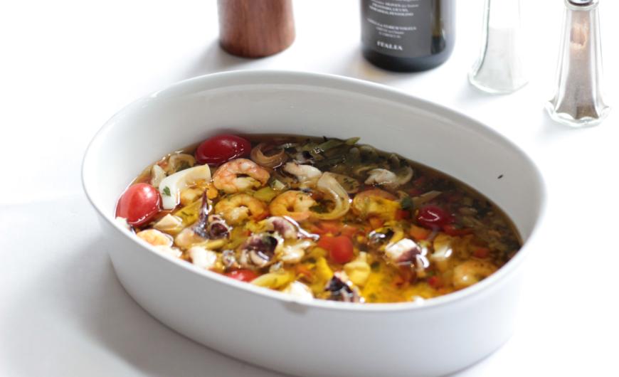 Restaurant Frankfurt Atelier - Essen Frankfurt - In Olivenöl eingelegte, aromatische Meeresfrüchte